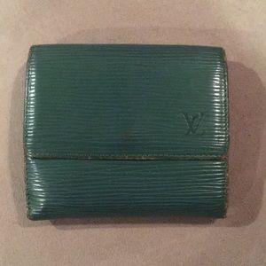 LV green epi leather wallet